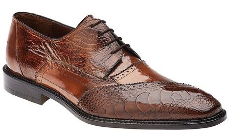 Belvedere Nino Camel Ostrich Eel Brogue Shoes OB4 - click to enlarge