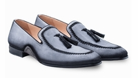 Mezlans Mens Gray Suede Tassle Loafer Plazza