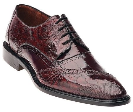 Belvedere Nino Dark Red Ostrich Eel Brogue Shoes OB4 - click to enlarge