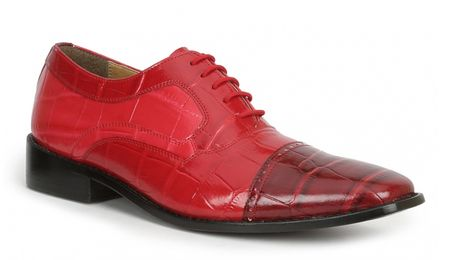 Giorgio Brutini Shoes Mens Red Alligator Texture Cap Toe 211030 IS  - click to enlarge