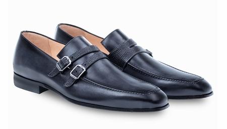 Mezlan Black Double Strap Italian Calfskin Loafers Callas - click to enlarge