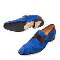 Mezlan Shoes Jordi Men's Blue Suede Penny Loafer 9036