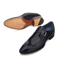Mezlan Shoes Men Blue Calfskin Monk Strap Split Toe Debussy