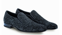 Mezlan Mens Black Velvet Paisley Formal Loafer Damon