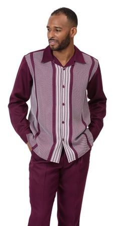 Montique Walking Suit Mens Burgundy Patterned Long Sleeve 2060