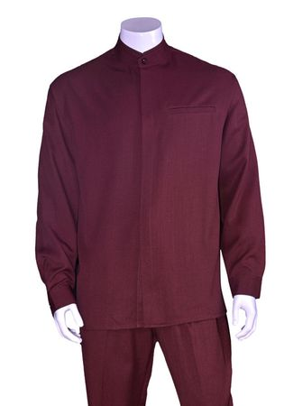 Milano Big Size Mens Burgundy Banded Collar Walking Suit 2826X