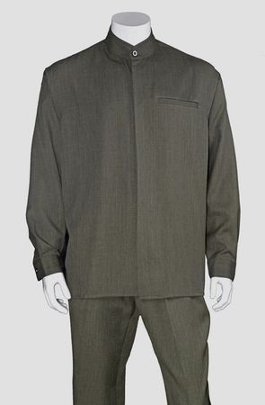 Milano Big Size Mens Olive Banded Collar Walking Suit 2826X - click to enlarge