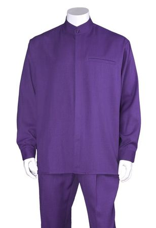 Milano Big Size Mens Purple Banded Collar Walking Suit 2826X
