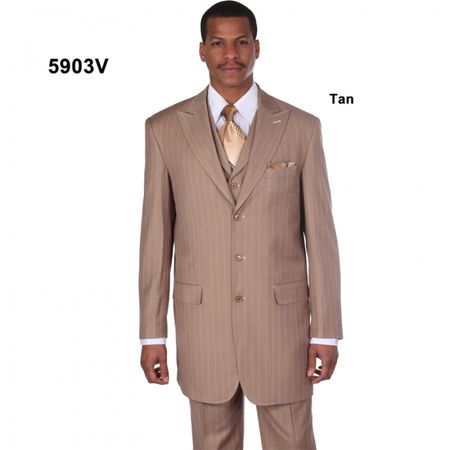 Milano Beige Wide Leg Zoot Suit 3 Piece 5267V 42Long & 54 Reg Final Sale - click to enlarge