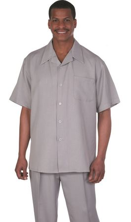 Milano Fortini Gray Short Sleeve Fashion Walking Suits 2954 - click to enlarge