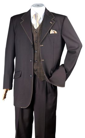Milano Fortini Men's Brown Beige 1970s Stitched Suit Belted Back 2916V
