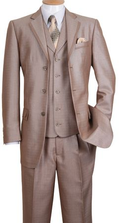 Milano Fortini Men's Tan Sharkskin 3 Pc. Fashion Suit 5909V - click to enlarge