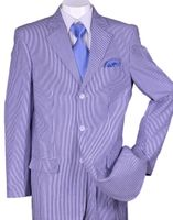 Mens Seersucker Suits Blue Summer Stripe 3 Button Milano ST802
