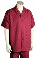 Canto Mens Wine Checker Pattern Short Sleeve Walking Suits 704 SIze XLarge/38 Final Sale