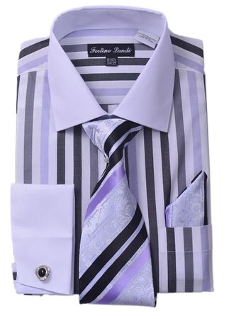 Milano Mens Black Candy Stripe Fancy Shirt Tie Set FL629