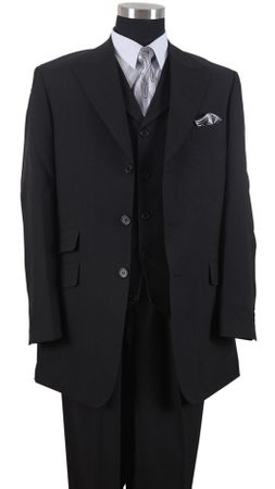 Milano Mens Black Long Jacket 3 pc. Fashion Suit 905V