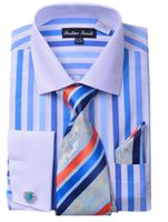 Milano Mens Blue Candy Stripe Fancy Shirt Tie Set FL629