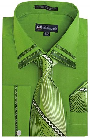Milano Mens Fancy Trim Olive Green French Cuff Shirt Tie Set SG28 Size 16.5 36/37