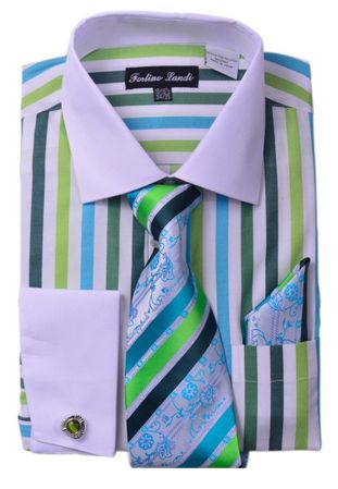 Milano Mens Green Candy Stripe Fancy Shirt Tie Set FL629