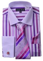Milano Mens Lavender Candy Stripe Fancy Shirt Tie Set FL629
