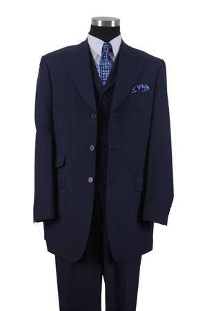 Milano Mens Fashion Length Jacket 3 piece Pleat Pants Suit Navy 905V - click to enlarge