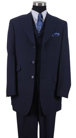Milano Mens Fashion Length Jacket 3 piece Pleat Pants Suit Navy 905V