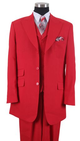 Milano Mens Wide Lapel Style 3 pc. Urban Fashion Suit Red 905V