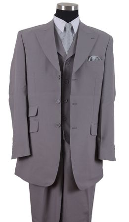 Milano Mens Longer Style Jacket 3 pc. Gray Fashion Lapel Vest Suit 905V