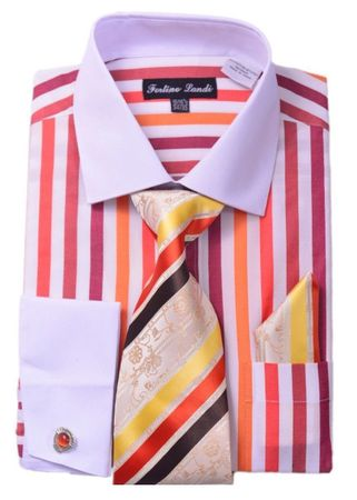 Milano Mens Red Candy Stripe Fancy Shirt Tie Set FL629