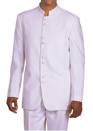 Milano Moda White 8 Button Chinese Collar Suit 5905 - click to enlarge