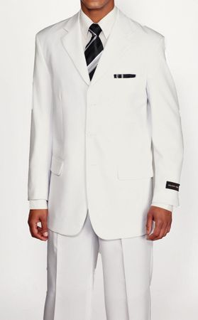 Milano Moda Basic White 3 Button 2 Piece Suit 802P - click to enlarge