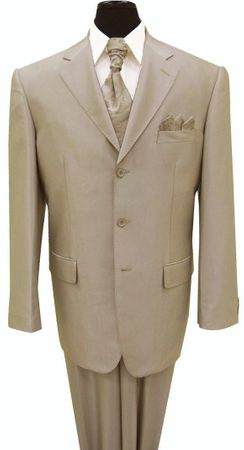 Sharkskin Suits by Milano Mens Shiny Beige 3 Button 58025