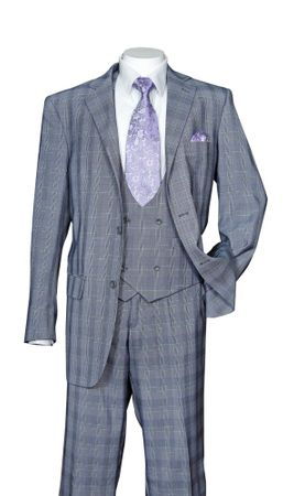 Men's Gray Plaid 3 Piece Fashion Suit Scoop Vest Milano 5702V6