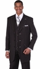 Milano Moda Black Full Cut Striped Vested Urban Men Suits 5903V