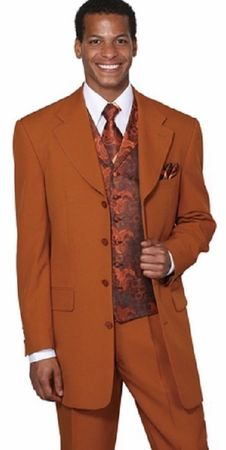 Milano Mens Rust Paisley Vested Suit 6903V Size 56 R Final Sale