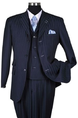 Milano Moda Navy Tone on Tone Stripe Vested Urban Men Suits 5267V Size 38 R and 48 R Final Sale