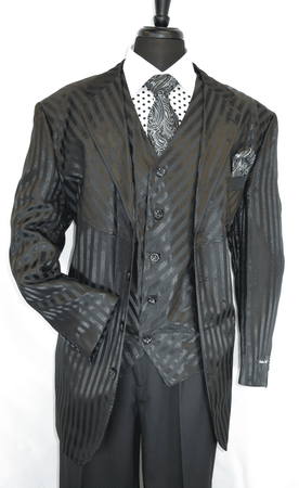 Milano Moda Black Shiny Stripe Urban Fashion Suit 2915