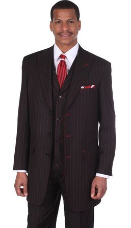 Milano Moda Black Red Stripe 3 Piece Full Cut Wide Leg Suits 5903V