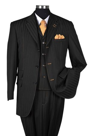 Milano Moda Black Tone on Tone Stripe Vested Urban Men Suits 5267V