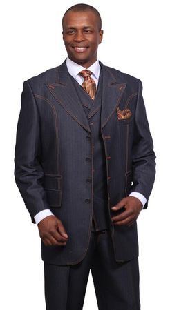 Milano Moda Blue Denim Style Wool Touch  Vested Urban Men Suits 5608V - click to enlarge