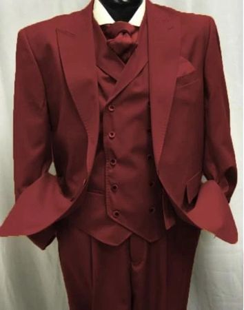 Mens Burgundy Wool Suit Double Breasted Vest Alberto Gadson54