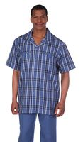 Mens Short Sleeve Walking Suit Blue Plaid Milano 2952