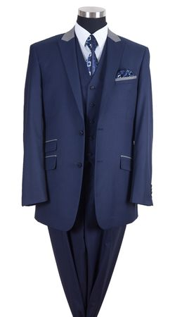 Milano Moda Mens Navy Chesterfield Classy 3 Piece Suit 57023