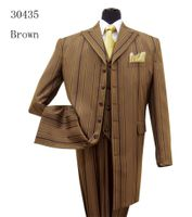 Milano Moda Brown  Fancy Multi Stripe Zoot Suit Long Jacket 30435