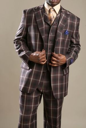Tony Blake Mens Brown Big Square Pattern Fashion Suit HF323
