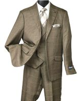 Stacy Adams Mens Brown Houndstooth 1920s Fashion Suit State Vest 5902-708 IS