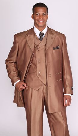 Milano Moda Brown Shiny Vested Full Cut Church Suits 5264V