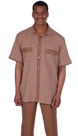 Mens Leisure Suits Outfit Brown Plaid Short Sleeve Milano 2953