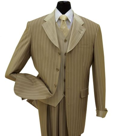 Milano Moda Brown Striped Cuffed Vested Men Church Suits Long Jacket2911V