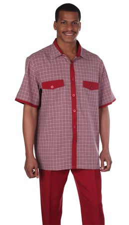 Mens Leisure Suits Outfit Burgundy Plaid Short Sleeve Milano 2953